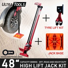 "COMBO - High Lift 48"" Inch Farm Jack Kit Tyre Lift Kit + Jack Base + Handle Keeper"