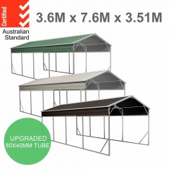Carport 3.6 x 7.6m x 3.51m (Gable) Backyard Boat Portable Vehicle Shelter