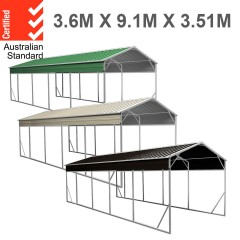 Carport 3.6 x 9.1m x 3.51m (Gable) Backyard Boat Portable Vehicle Shelter