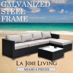 Miami 5 Seater Outdoor Sofa Modular 6 Piece Set Rattan Furniture Lounge Black