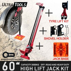 "COMBO - High Lift 60"" Farm Jack Kit Tyre Lift Kit + Shovel Holder + Jack Base + Handle Keeper"