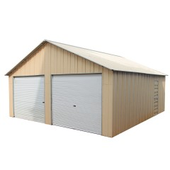Double Garage 6.6m x 7.2m x 3.7m Widespan Roller Door Workshop Cream or Rivergum