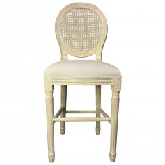 Louis Rattan Bar Stool French Provincial Upholstered Washed Natural or White