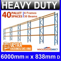 Pallet Racking 5 Bay System 6098mm High 40 Pallet Spaces