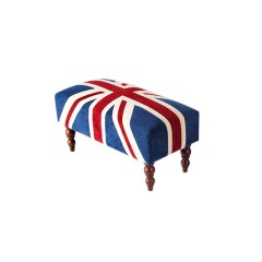 Contemporary UK British Flag Union Jack Upholstered Footstools & Ottoman (Medium)