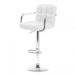 Artiss 2x Bar Stools Gas Lift Swivel Chairs Kitchen Armrest Leather Chrome White