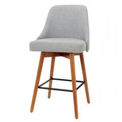 Artiss 2x Wooden Bar Stools Swivel Bar Stool Kitchen Cafe Fabric Light Grey