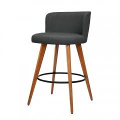 Artiss 2x Wooden Bar Stools Modern Bar Stool Kitchen Fabric Charcoal