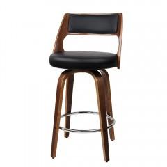 2xartiss Wooden Bar Stools Swivel Bar Stool Kitchen Dining Chair Cafe Black 76cm