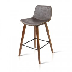 Set Of 2 Walnut Leather Seat Bar Stool