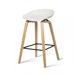Set Of 2 Wooden Barstools With Metal Footrest White