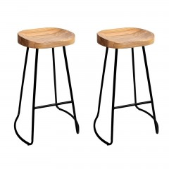 Set Of 2 Vintage Tractor Bar Stools - Natural