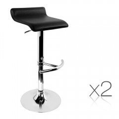 Set Of 2 Pu Kitchen Bar Stool Black