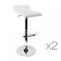 Set Of 2 Pu Kitchen Bar Stool White