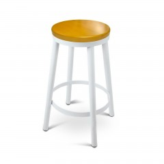 Set Of 2 Round White Stackable Bar Stools