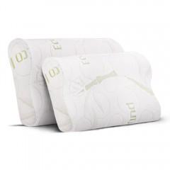Set Of 2 Bamboo Fabric Cover Contour Memory Foam Pillow 50 X 30 Cm