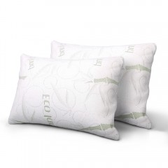 Set Of 2 Bamboo Fabric Cover Shredded Memory Foam Pillow 70 X 40 Cm