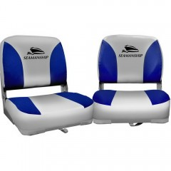 Set Of 2 Swivel Folding Boat Seats Grey Blue