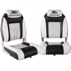 Set Of 2 Swivel Folding Boat Seats - Grey & Black