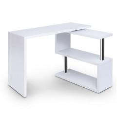 Office Computer Desk Corner Table W/ Bookshelf White