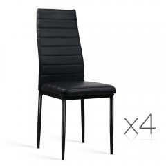 Set Of 4 Dining Chairs Pvc Leather - Black