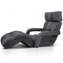 Adjustable Lounger With Arms  Charcoal