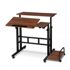 Mobile Twin Laptop Desk Dark Wood