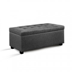Faux Linen Ottoman Storage Foot Stool Large Grey