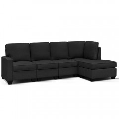 Artiss 5 Seater Modular Sofa Set Chair Bed Suite Couch Dark Grey