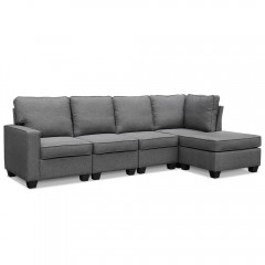 Artiss 5 Seater Sofa Chair Set Corner Couch Ottoman Fabric Dark Grey