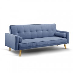 3 Seater Faux Linen Fabric Sofa Blue