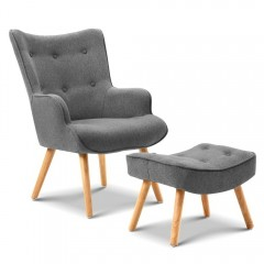 Armchair And Ottoman - Grey