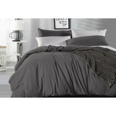 Queen Size Charcoal Vintage Washed Cotton Quilt Cover Set(3pcs)
