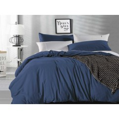 Queen Size Indigo Vintage Washed Cotton Quilt Cover Set(3pcs)
