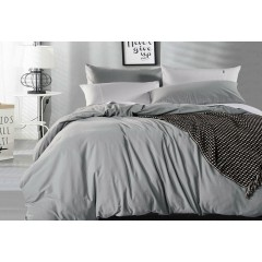 Super King Size Pewter Vintage Washed Cotton Quilt Cover Set(3pcs)