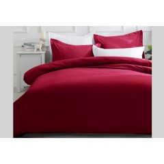 Queen Size Burgundy Quilt Cover Set (3pcs)