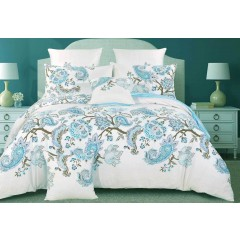 King Size Cotton White Blue Paisley Quilt Cover Set (3pcs)