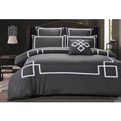 Queen Size Charcoal And White Quilt Cover Set (3pcs)