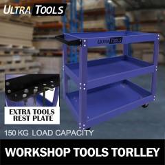 Ultra Tools Mechanic Workshop Trolley Steel 3 Tier 150kg BLUE