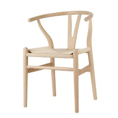 Set of 2 Replica Hans Wegner Wishbone Chairs - White Black Natural