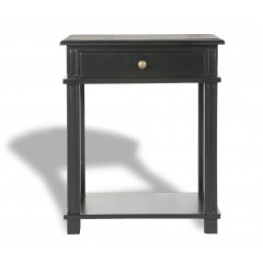 Hamptons Halifax One Drawer Bedside Lamp Table Nightstand - Villa Black