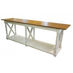Farmhouse Style Country Rustic Cross White Console table with Natural Oak Top