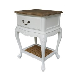 French Provincial White Bedside Lamp Table