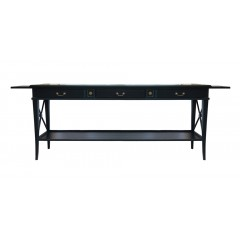 Hamptons Halifax Side Cross 3 Drawers Console Hall Table with Side Pull Out - Black