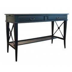 Hamptons Side Cross 2 Drawer Console Hall Table with Side Pull Out