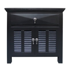 Hamptons Louvre Black Bedside Table 1 Drawer with Door