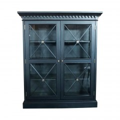 Hamptons Cross Tempered Glass Door Display Cabinet Black White