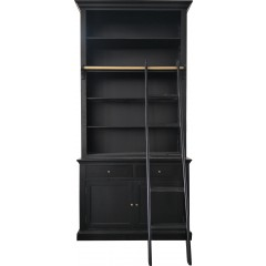 Hamptons Halifax Single Hutch Open Bookcase Buffet with Ladder