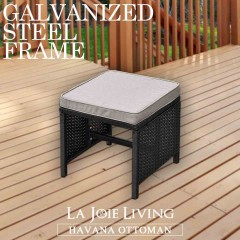 Set of 2 La Joie Outdoor Living Havana Modular Ottoman Furniture Wicker Rattan Steel Frame