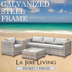 Phuket 5 Piece 4 Seater Outdoor Sofa Lounge Set Furniture Modular Rattan Steel Frame Light Ash Brown